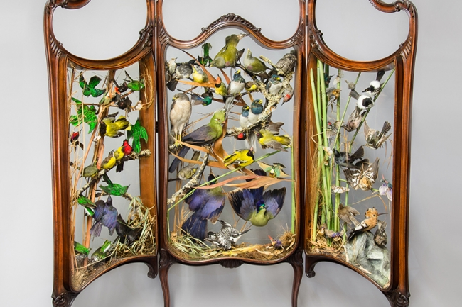 A 19th century Rowland Ward taxidermy firescreen diorama of exotic birds. Price realised £6,100.