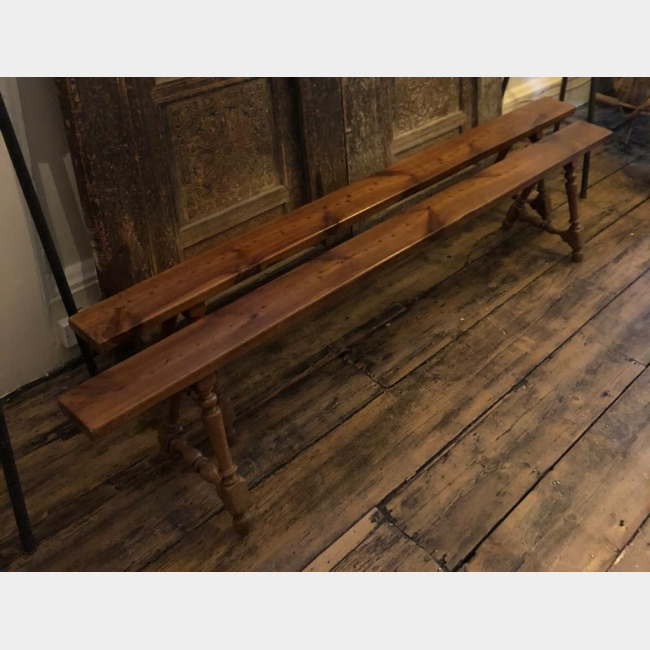 A PAIR OF 19TH CENTURY FRENCH FRUITWOOD BENCHES