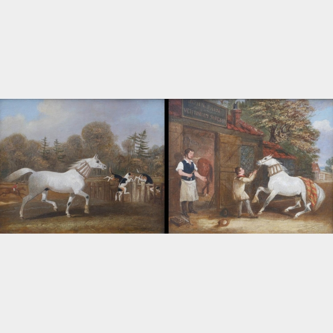 ATTRIBUTED TO JAMES POLLARD, 1792 - 1867, PAIR OF OILS ON CANVAS