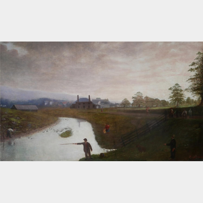 A LARGE 19TH CENTURY OIL ON CANVAS American provincial school river landscape