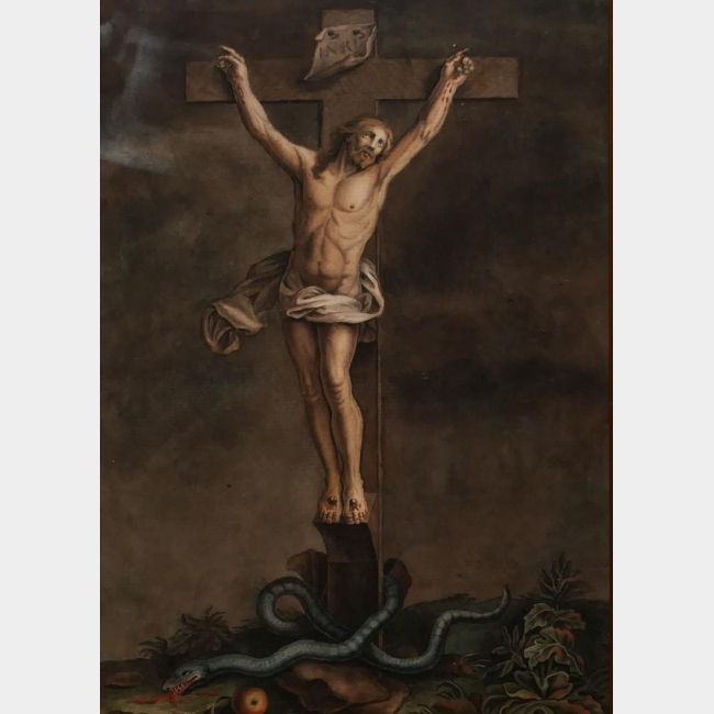 A FINE 18TH CENTURY PEN, INK AND WATERCOLOUR Christ on the cross with snake,