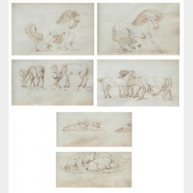 ATTRIBUTED TO GEORGE STUBBS, A.R.A., LIVERPOOL, 1724 - 1806, LONDON, SIX LATE 18TH CENTURY STUDY DRAWINGS