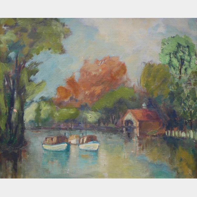FOLLOWER OF RONALD OSSORY DUNLOP, 1894 - 1973, OIL ON CANVAS The River Thames at Kingston,
